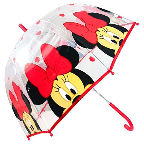Paraguas Transparente Cúpula Paraguas Infantil Paraguas Manual Paraguas Minnie Paraguas Niña 46cm (Rojo)