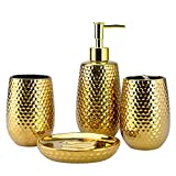 4-Piece Ceramic Bathroom Accessories Set, Moroccan Trellis Bathroom Ensemble Complete Sets for Bath Decor Includes Soap Dispenser Pump, Toothbrush Holder, Tumbler, Soap Dish, Ideas Home Gift (Gold)