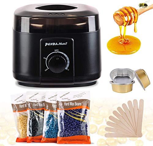 Waxing Kit/Wax Warmer/Wax Beads for Hair Removal/Eyebrow Wax kit/waxing kit for Women with 4 Packs Hard Wax Beans and 10 Wax Applicator SticksBlack