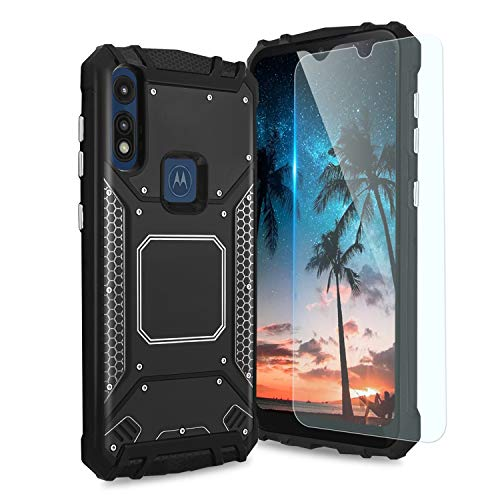 TJS Phone Case Compatible with Motorola Moto E7, Moto E 2020, with [Tempered Glass Screen Protector] Aluminum Shockproof Military Magnetic Support Built-in Metal Plate Back Protector Cover (Black)