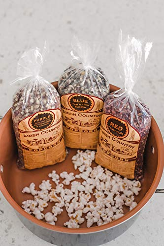Product Image 4: Amish Country Popcorn | 3 – 1 lb Bags | Purple, Red and Blue Popcorn Kernels | Old Fashioned with Recipe Guide (3 – 1 lb Bags)