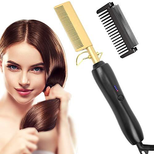 Cepillo alisador de pelo, cepillo alisador con tecnología iónica, revestimiento de cerámica, tecnología de plancha para cabello seco y húmedo (negro dorado)
