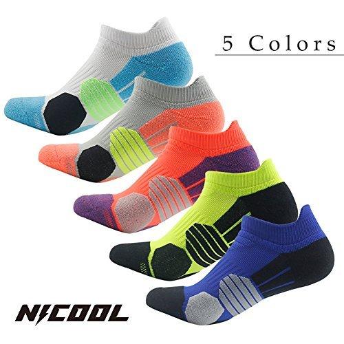 Low Cut Athletic Socks Nicool Boy's Performance Tennis Comperssion Cushioned Socks,Green&Orange,Pack of 2