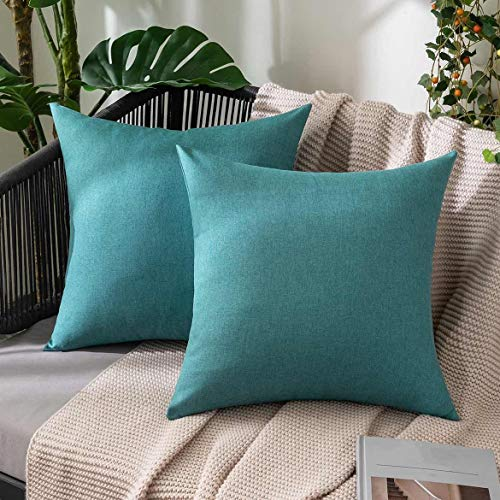 MIULEE Outdoor Waterproof Throw Pillow Covers Water Resistant Garden Chair Cushion Case for Garden Couch Pet Sofa Linen Home Decoration 18x18 Inches 45x45 cm Pack of 2 Peacock blue