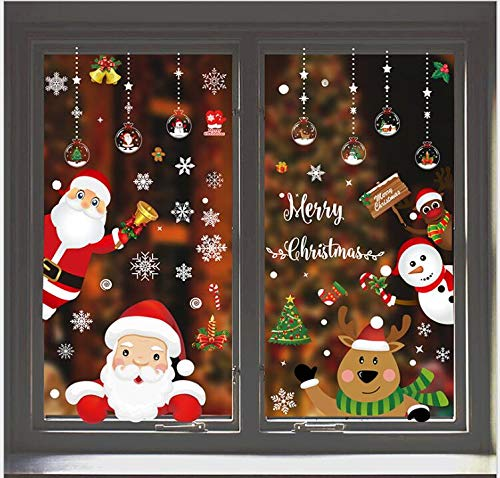 LRIO Christmas Window Stickers Decal DIY Stickers Santa...