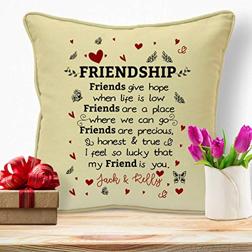 Personalised Presents Gifts For Best Friends College Colleagues Cousins Sister Neighbour Women Friendship Birthday Christmas Xmas Lovely Poem Home Decor Sofa Cushion Covers Throw Pillows