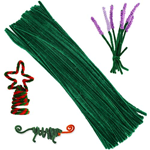 100 Pieces Pipe Cleaners Chenille Stem, Solid Color Pipe Cleaners Set for Pipe Cleaners DIY Arts Crafts Decorations, Chenille Stems Pipe Cleaners (Green)
