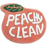 Peach Bathroom Rugs and Mat Cute Cartoon Bath Mat Kids Bathroom Decor Peachy Plush Coral Pink Non-Slip Foot Mat Absorbent Bathtub Rug Washable