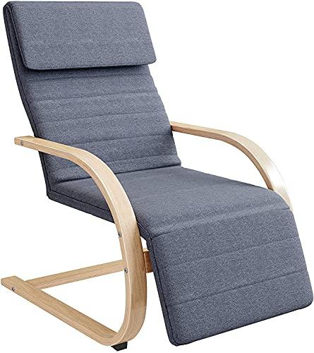 Schaukelstuhl, Wiegenstuhl aus Holz, Liegestuhl zum Entspannen, Langstühle mit Fußstütze, verstellbar in 3 Höhen, für Wohnzimmer,...