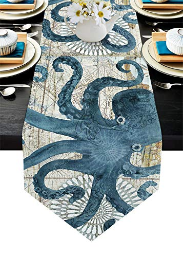 Blue Watercolor Cotton Linen Table Runner Dresser Scarves Octopus Ocean Animal Nautical Themed Retro Non-Slip Table Settings Decor for Farmhouse Kitchen Home Dining,Holiday Extra Long 13 x108 in