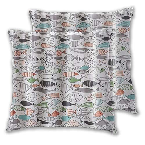 MOBEITI Juego de 2 Decorativo Funda de Cojín Impresión de algodón de Pescado Multicolor Moderno Funda de Almohada Cuadrado para Sofá Cama Decoración para Hogar,55x55cm