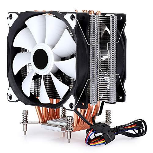 Vbestlife1 Ventilador de refrigeración para computadora, Enfriador de CPU de 6 Tubos de Cobre, Ventilador Doble sin lámpara, Ultra silencioso, Ventilador de refrigeración para((6 Tubos y 4 Hilos))