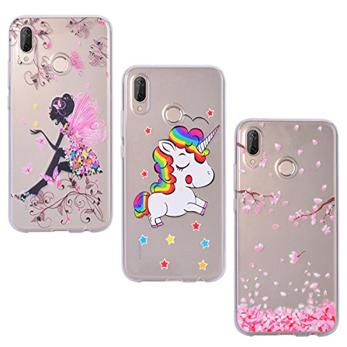 Yokata [3 Packs Funda para Huawei P20 Lite Carcasa Transparente Ultra Suave Silicona TPU Case con Dibujo Anti-Arañazos Caso Cover - Chica Mariposa + Unicornio + Sakura