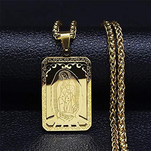 liuliu 2021 Hip Hop Doble Capa de Acero Inoxidable Colgante Largo Collar Mujeres/Hombres Color Oro Virgen María joyería Collier Homme