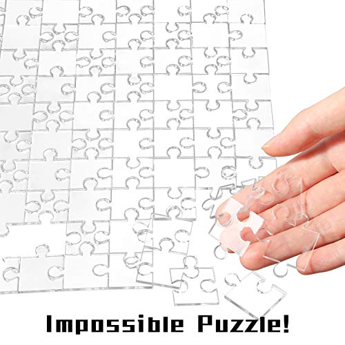 "BeYumi 200Pcs Clear Jigsaw Puzzle – Blank Acrylic Puzzle, Stress Reliever, Practically Impossible Challenge Puzzle for Puzzle Freak, High Difficult Jigsaw Puzzle for Adults and Kids, 17.7"" x 8.6"""