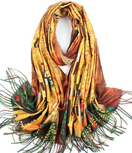 Soft Cashmere Feel Scarf For Women Elegant Large Winter Warm Scarves Shawl Wrap Monet Klimt product image