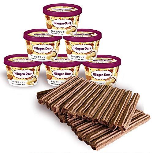 星のチュロス チョコレート味25本 & ハーゲンダッツミニカップ 選べる6個セット (マカデミアナッツと星のチュロスチョコレート味)