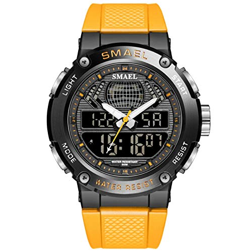 JTTM Hombre Relojes, Al Aire Libre Deportes Multifuncional Analógico Y Digital Deporte Relojes LED Relojes De Pulsera Men Watches,Naranja