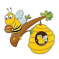蜂は枝に座っていて食べる蜂蜜車のステッカー漫画のファッションポリ塩化ビニールの装飾防水デカール14 * 12cm (Size : 14 x 12 cm)