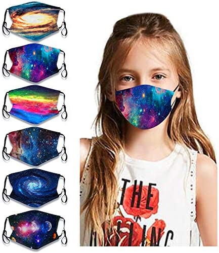 6Pcs Kids Galaxy Face Bandanas Cute Cartoon Breathable Cotton Dust Protection with Adjustable product image