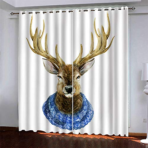 YUNSW Christmas 3D Digital Printing Polyester Fiber Curtains, Garden Living Room Kitchen Bedroom Blackout Curtains, Perforated Curtains 2 Piece Set