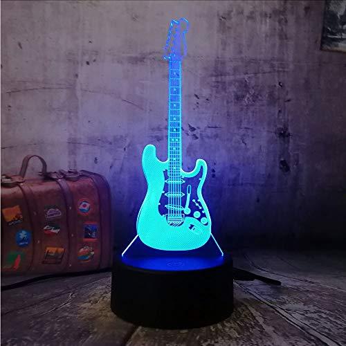 Luz nocturna 3D eléctrica, bajo guitarra, lámpara de mesa táctil, ilusión óptica, 7 cambios de color, luz nocturna para bebés, niños, decoración del hogar, para fans de música, regalo de cumpleaños