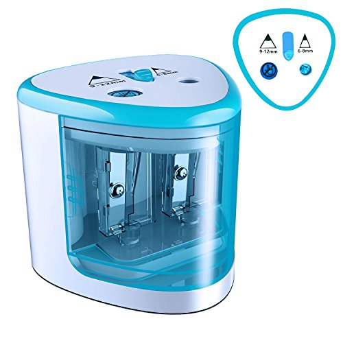 MROCO Pencil Sharpener Battery Operated Electric Pencil Sharpener Colored Pencils Sharpener automatic pencil cutter for kids, adults, artists, or sharpeners for pencils, office pencil sharpener (Blue)
