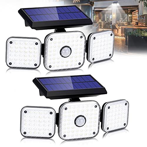 SerDa-Run Luz Solar Exterior Sensor de Movimiento 112 LED Foco Giratorias de 270 ° con 3 Cabezas Iluminación de Seguridad Impermeable IP65 Lámparas de Pared para Patio, Camino, Jardín, Garaje