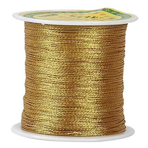 Flybloom Metallic Cord Embroidery Thread DIY Sewing Thread Kit Knitting Accessories(Golden Color