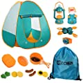 Mitcien Kids Camping Gear Set with Pop Up Play Tent for Kids Toddler Indoor Outdoor Toys Pretend Play Set for Boys Girls Camping Tools, 17 Pieces