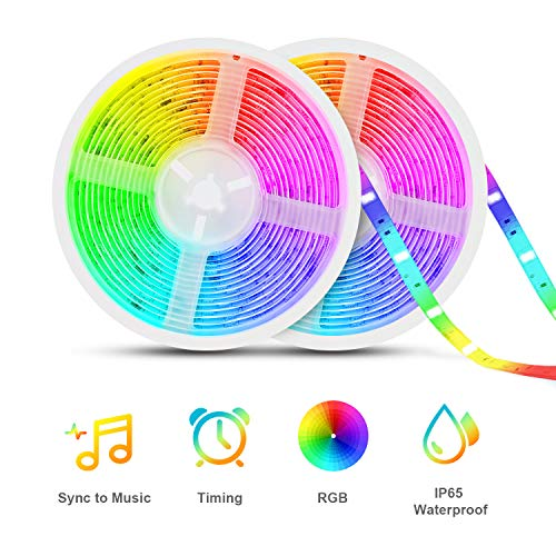 Led Strip Lights Sync to Music, Tasmor 32.8ft 5050 RGB Light Color Changing with Music IP65 Waterproof LED Rope Light with Controller for Home, Room, Bar, Party