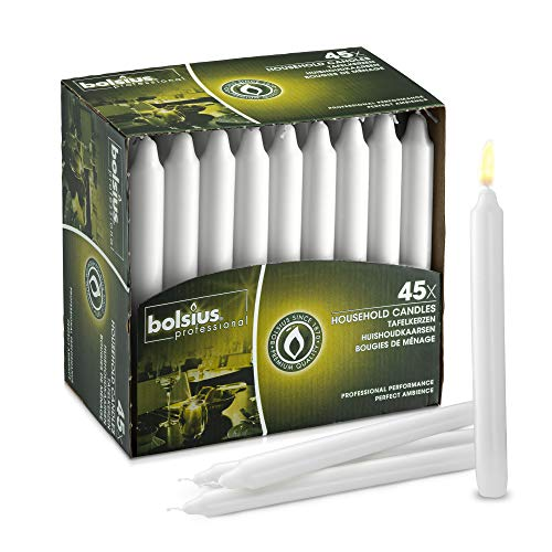 BOLSIUS Straight Unscented White Candles Pack of 45-7-inch Long Candles - 7 Hour Long Burning Candles - Perfect for Emergency Candles, Chime Candles, Table Candles for Wedding, Dinner, Christmas
