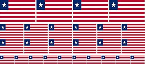 Mini Aufkleber Set - Pack glatt - 4x 51x31mm+ 12x 33x20mm + 10x 20x12mm- Sticker - Liberia - Flagge - Banner - Standarte fürs Auto, Büro, zu Hause & die Schule - Set of 26