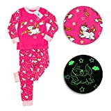Little Jupiter Glow in The Dark Girls Pajamas - Glow in The Dark - Unicorn - Cat - Mermaid - Llama - Panda - PJs - Childrens Sleepwear for Ages 2 - 3 - 4 - 5 - 6 -7 - 8 - 10 - Pink Unicorn - 6yrs