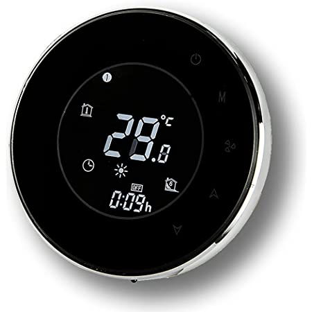 BecaSmart Series 6000 Termostato Inteligente Wi-Fi Redondo para para Aire Acondicionado con Cuatro Tubos Tubos Ventilador de Aire Bobina con conexión WiFi , Control de Voz(Cuatro Tubos, Negro)