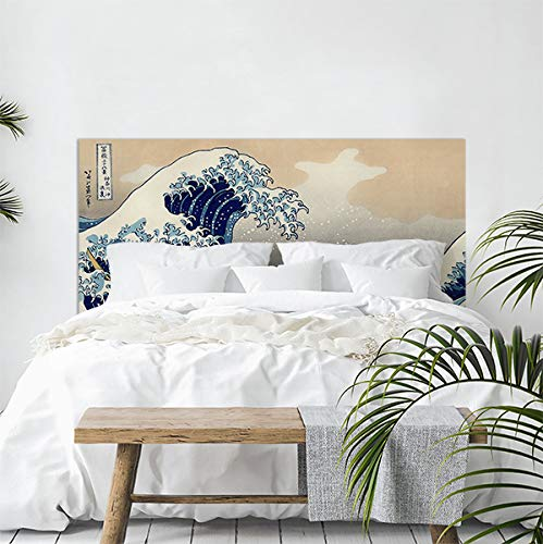 CREARREDA Testiera letto matrimoniale in PVC adesiva 100% Made in Italy Hokusai Big Wave 168x78 Schianale letto adesivo resistente, antigraffico, anallergico e isolante