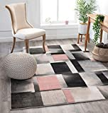 Well Woven Good Vibes Louisa Blush Pink Modern Geometric Boxes 5'3' x 7'3' 3D Texture Area Rug
