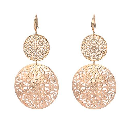 Orecchini pendenti da donna e ragazza, a forma di fiore cavo, in acciaio INOX placcati in oro rosa con cristallo e placcato Platino, colore: Gold Plated, cod. EH06127