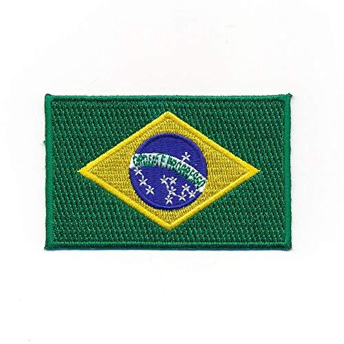 hegibaer 80 x 50 mm Brasilien Flagge Brasil Brasilia Flag - Rio Aufnäher Aufbügler 0937 X