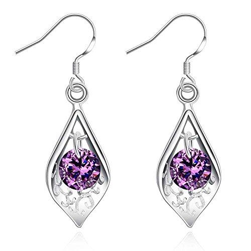 1 paar 925 sterling zilver vergulde paarse zirkoon druppel oorbellen waterdruppel dangle oorbellen voor vrouwen kristal sprankelende elegante bruidssieraden
