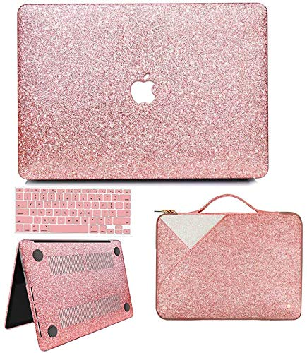 Anban MacBook Air 13 inch Case, Glitter Bling Smooth Protective Case & Glitter Laptop Sleeve & Keyboard Cover Compatible with MacBook Air 13' 2010 - 2017 Release A1466 A1369, Shining Rose Gold