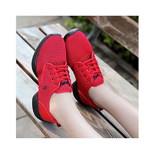 HAOLIN Zapatos de jazz de malla para mujer, para mujer, de estilo duro, suela dividida, para baile, sala de baile, al aire libre, color rojo 39