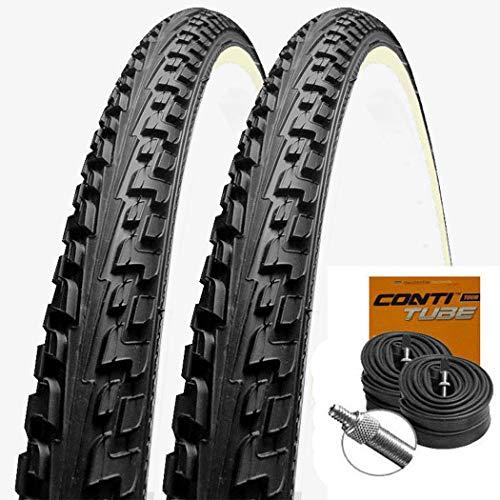 Set: 2 x Continental Reifen Ride Tour schwarz-Weiss 26x1.75/47-559 + Conti SCHLÄUCHE Dunlopventil