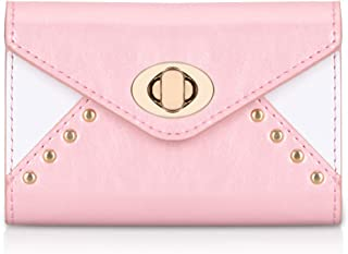 FYY Business Card Holder Business Card Case, Luxury Leather Name Card Holder Wallet with Metal Lock Shut Rose Gold