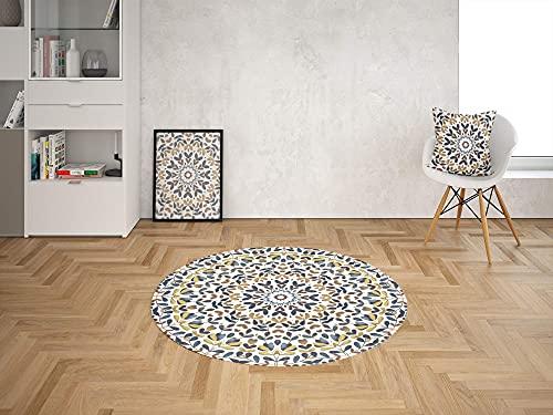 Oedim Alfombra Redonda Patrón Acuarela Oriental PVC | 100 x 100 cm | Moqueta PVC | Suelo vinilico | Decoración del Hogar