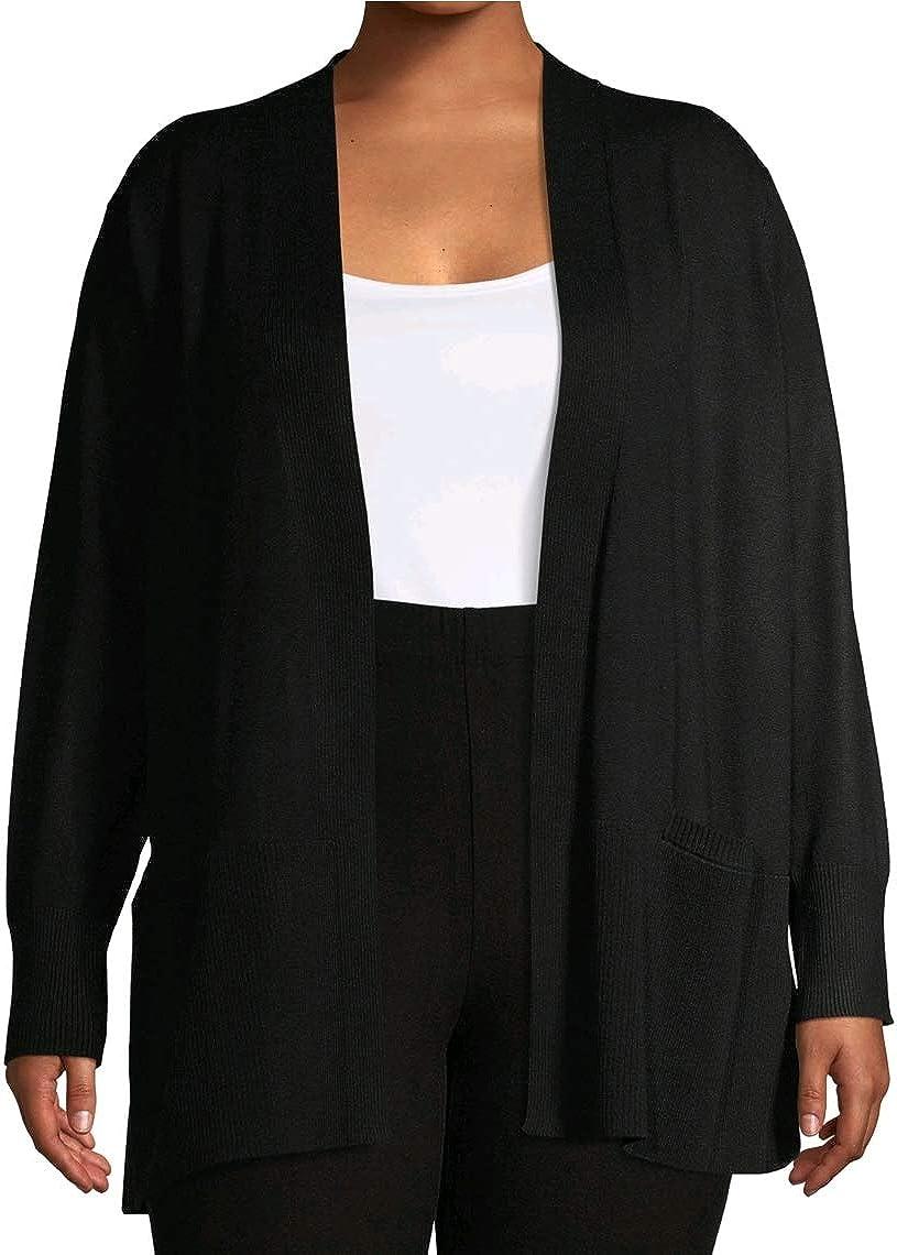 Terra & Sky Black Plus Size Open Front Cardigan Sweater