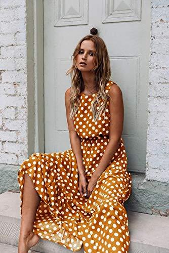 NOBRAND Vestido Largo Sin Mangas con Lunares Marrones Vestidos De Verano para Mujer Vestido Vintage Una Línea Elegante Vestido Largo Informal Suelto L Amarillo