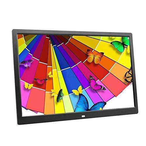 WanZhuanK 15 Zoll Digitaler Bilderrahmen 1920 x 1080 Metallrahmen elektronischer Rahmen für Fotos Video High Definition Audio-Player LCD-Anzeige mit kabelloser Fernbedienung Whiteeuplug