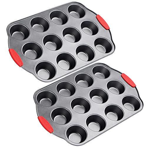 OJelay set of 2 Muffin Pan Nonstick 12 Cavity Muffin Tin Cup Heavy Duty BPA
