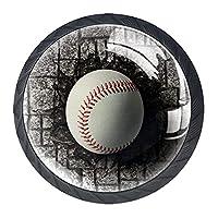 引き出しノブ取っ手、野球はレンガの壁に埋められました キャビネットノブ、クリスタルガラスハンドル、4つのハンドル